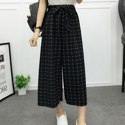 Rocho - Check Cropped Wide Leg Chiffon Pants