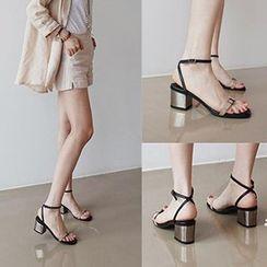 QQ Trend - Ankle Strap Block Heel Sandals