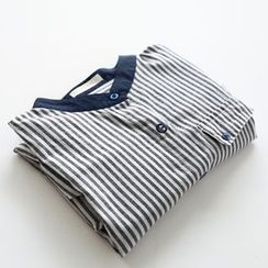 Bonbon - Band Collar Striped Shirt
