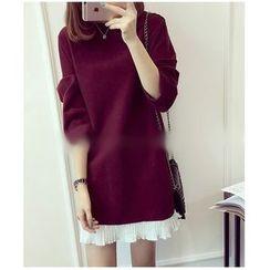 Oaksa - Long-Sleeve Mock Two Piece Woolen Dress