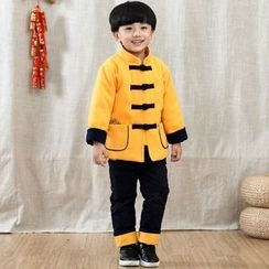 Emperial - Kids Set: Mandarin Collar Embroidered Frog Button Top + Pants