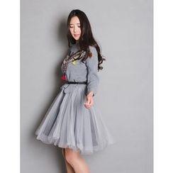 GUMZZI - Set: Sequined Knit Sweater + Tulle Dress