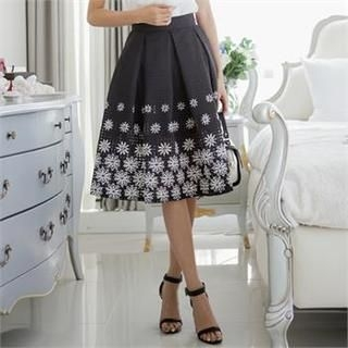 SUVINSHOP - Floral Patterned Hem Pleated-Accent A-Line Skirt