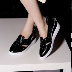 JY Shoes - Perforated Cutout Hidden Wedge Loafers
