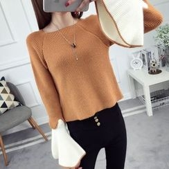 anzoveve - Bell-Sleeve Sweater