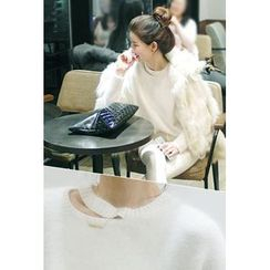 ATTYSTORY - Cutout-Front Slit-Side Knit Top