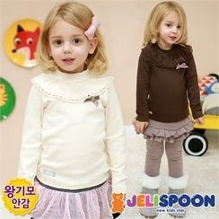 JELISPOON - Girls Frilled Fleece-Lined T-Shirt