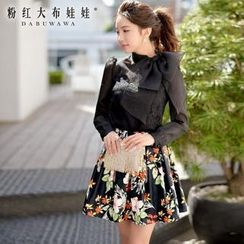 Dabuwawa - Long-Sleeve Bowed Lace Panel Blouse