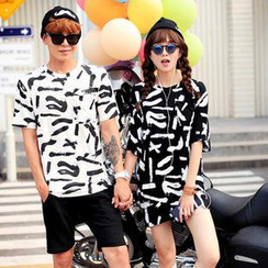 Simpair - Ink Patterned Loose-Fit Couple T-Shirt