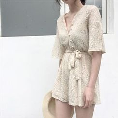 MISS YOYO - Tie-Waist Elbow-Sleeve Lace Playsuit