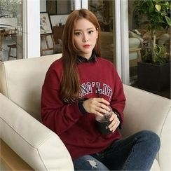 QNIGIRLS - Drop-Shoulder Lettering Pullover