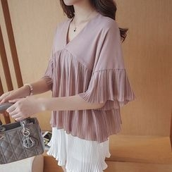 Cherry Dress - Pleated V-Neck Elbow-Sleeve Chiffon Blouse
