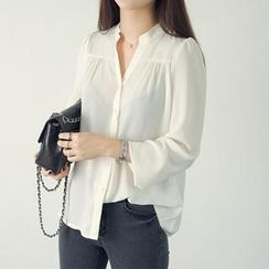 45SEVEN - Open-Placket Chiffon Blouse