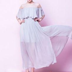Isadora - Cold Shoulder Maxi Chiffon Dress