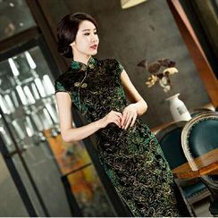 Posh Bride - Cap-Sleeve Lace Long Cheongsam