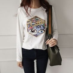 NIPONJJUYA - Round-Neck Eyes Print T-Shirt