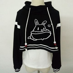 Rega - Set: Rabbit Print Fleece Lined Cropped Hoodie + Tank Top