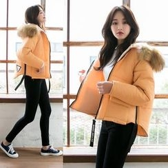 Dowisi - Furry Hooded Padded Jacket