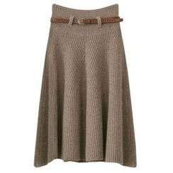 PEPER - A-Line Knit Midi Skirt with Belt