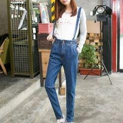 Iscat - Straight-Cut Suspender Jeans