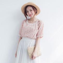 Tokyo Fashion - Short-Sleeve Paneled Printed Top