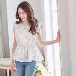 Tokyo Fashion - Floral Print Tie-Waist Sleeveless Blouse