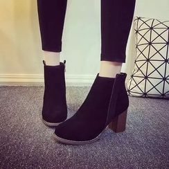 Yoflap - Faux Suede Stack Heel Ankle Boots