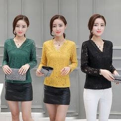 Sienne - Long-Sleeve V-Neck Lace Top