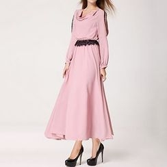 Rebecca - Cutout Shoulder Long-Sleeve Maxi Dress