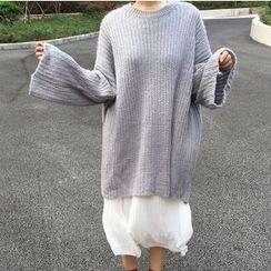 MATO - Plain Ribbed Sweater Dress