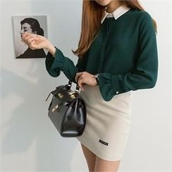 PEPER - Ruffle-Sleeve Color-Block Chiffon Blouse
