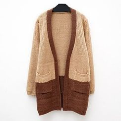 Polaris - Two-tone Open Front Long Cardigan