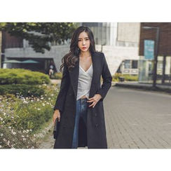 UUZONE - Wide-Lapel Double-Breasted Coat
