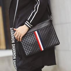 ETONWEAG - Woven Faux Leather Shoulder Bag