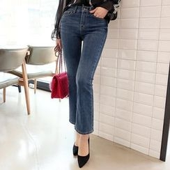 DABAGIRL - Washed Boot-Cut Jeans