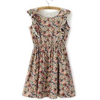 JVL - Lace-Panel Ruffled Floral Sleeveless Dress