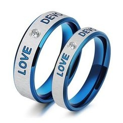 Tenri - CZ Couple Matching Stainless Steel Ring
