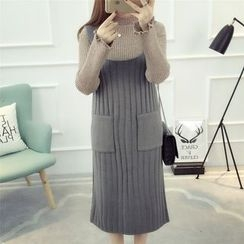 Dream Girl - Pocketed Rib Knit Midi Pinafore Dress