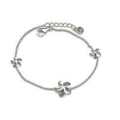 Bling Bling - Bling Bling Platinum Plated 925 Silver 'Forget Me Not' Flower Bracelet (6.5')