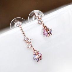 Sunsped - Rhinestone Non-Matching Drop Earrings