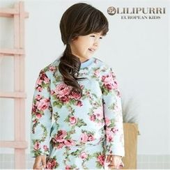 LILIPURRI - Girls Crew-Neck Rosette T-Shirt