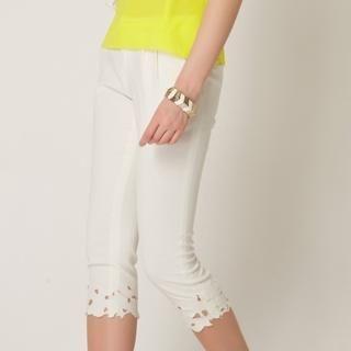 O.SA - Eyelet Embroidered Cropped Pants