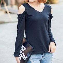 Rebecca - Long-Sleeve Shoulder Cut Out T-Shirt