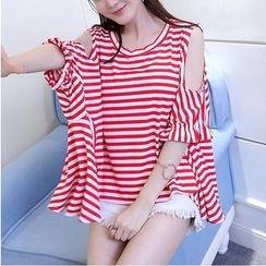 HazyDazy - Striped Short Sleeve Cold Shoulder T-Shirt
