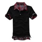 MR.PARK - Inset Plaid Shirt Polo Shirt