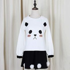 GOGO Girl - Set: Panda Print Pullover + Furry Ball Skirt