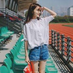 Wimi girls - Band Collar Elbow-Sleeve Shirt