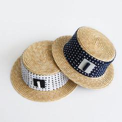 NIPONJJUYA - Polka-Dot Faux-Raffia Hat