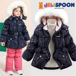 JELISPOON - Girls Faux-Fur Hooded Star Patterned Padded Coat