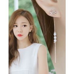 soo n soo - Rhinestone Faux-Pearl Drop Earrings